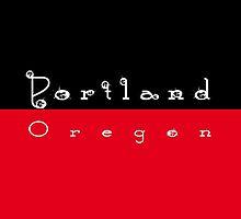 Portland Oregon Coffee Rings - Black & Red by EmeraldRaindrop