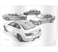 BMW M3 (4 Generations) Poster