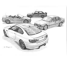 BMW M3 (4 Generations) Photographic Print