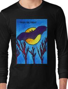 Halloween bat and moon trick or treat Long Sleeve T-Shirt