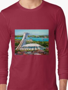 MONTREAL OLYMPIC STADIUM MONTREAL SKYLINE PAINTINGS Long Sleeve T-Shirt