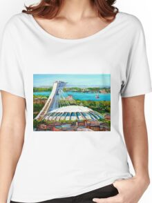 MONTREAL OLYMPIC STADIUM MONTREAL SKYLINE PAINTINGS Women's Relaxed Fit T-Shirt