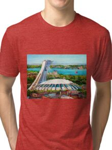 MONTREAL OLYMPIC STADIUM MONTREAL SKYLINE PAINTINGS Tri-blend T-Shirt