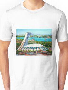 MONTREAL OLYMPIC STADIUM MONTREAL SKYLINE PAINTINGS Unisex T-Shirt