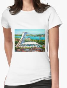 MONTREAL OLYMPIC STADIUM MONTREAL SKYLINE PAINTINGS Womens Fitted T-Shirt