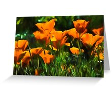 Brilliant Orange California Poppies - Impressions of Desert Spring Greeting Card