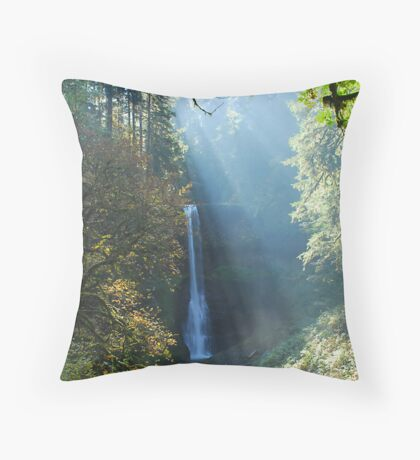 Middle North Falls in Fog Throw Pillow