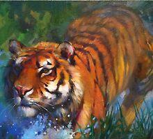 A Splash of Tiger by MarisaLuArt