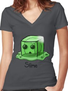 Slime Minecraft Women's Fitted V-Neck T-Shirt