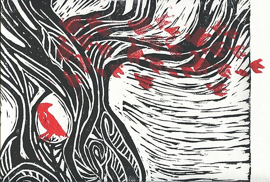 Wisdom of Trees - Red Raven by Stacie Arellano