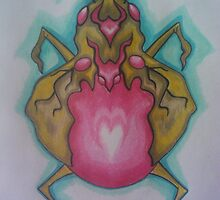 Gold bug with rose-quartz belly by scaroby