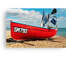 Lonely fishing boat on the pebble beach Canvas Print