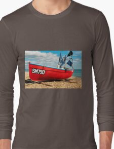 Lonely fishing boat on the pebble beach Long Sleeve T-Shirt