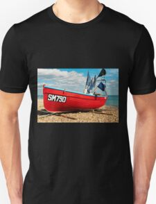 Lonely fishing boat on the pebble beach T-Shirt