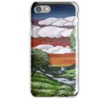 Hand-Painted Bright Sunset using Acrylic Paints iPhone Case/Skin