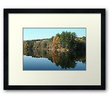 Fall reflections in a small pond  Framed Print