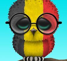Nerdy Belgian Baby Owl on a Branch by Jeff Bartels