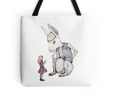 Jefferson Hare and the Child in Pink Tote Bag