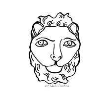 The Lion's Head- White Tote by ehtohcreative