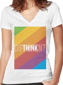 Think Different Women's Fitted V-Neck T-Shirt