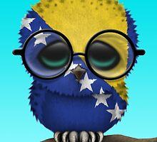 Nerdy Bosnia Herzegovina Baby Owl on a Branch by Jeff Bartels