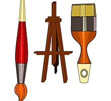 Artist Paint Brushes and Easel by NetoboDesigns