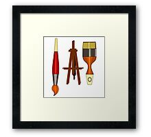 Artist Paint Brushes and Easel Framed Print