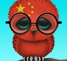 Nerdy Chinese Baby Owl on a Branch by Jeff Bartels