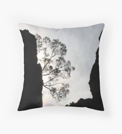 Gloomy Day at Hanging Rock Throw Pillow