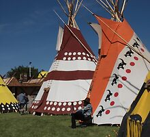 Native North American Man in front of Tipi by ldredge