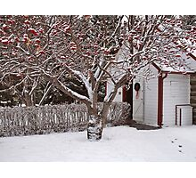 Rustic Church at Christmas Photographic Print