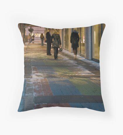 RGB Uptown Alleyway in Winter Throw Pillow