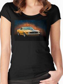 Orange 1970 Boss 302 Mustang Women's Fitted Scoop T-Shirt