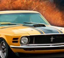 Orange 1970 Boss 302 Mustang Sticker