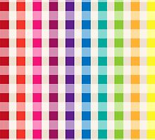 Multi-Colored Rainbow Candy gingham pattern by Tee Brain Creative