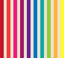 Multi-Colored Rainbow Candy stripes pattern by Tee Brain Creative