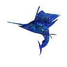 Mosaic Sailfish DARK / Watercolour Effect (Print) by blackmarlinblog