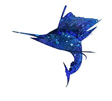 Mosaic Sailfish DARK / Watercolour Effect (Print) by blackmarlinblog