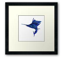 Mosaic Sailfish DARK / Watercolour Effect (Print) Framed Print