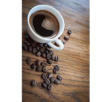 Espresso and beans on a table Photographic Print