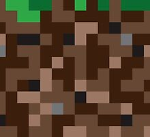 Pixel Grass and Dirt Block for Gamers by Tee Brain Creative