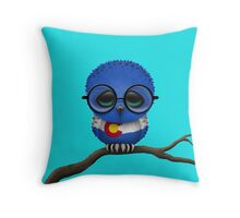 Nerdy Colorado Baby Owl on a Branch Throw Pillow