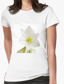 White Amaryllis Flower Womens Fitted T-Shirt