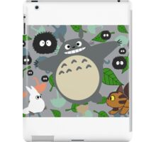 """Totoro in Motion"" My Neighbor Catbus Soot Sprite White Blue Leaf Umbrella Kawaii Stuido Ghibli  iPad Case/Skin"