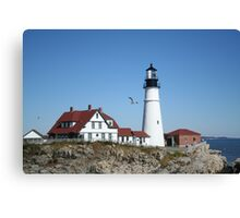 Portland Head Light House with seagull Canvas Print
