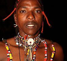 Portrait of a Maasai, or Masai, Moran of Kenya & Tanzania   by Carole-Anne