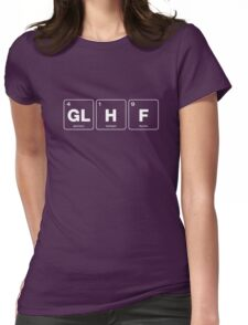 GLHF Periodic Table - White Type Womens Fitted T-Shirt