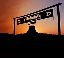 Sunset over Devils Tower at Campstool Ranch by Alex Preiss