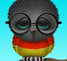 Nerdy German Baby Owl on a Branch by Jeff Bartels