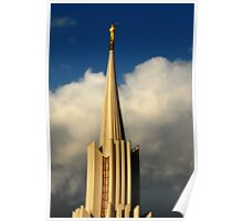Jordan River Temple Spire at Sunset Poster